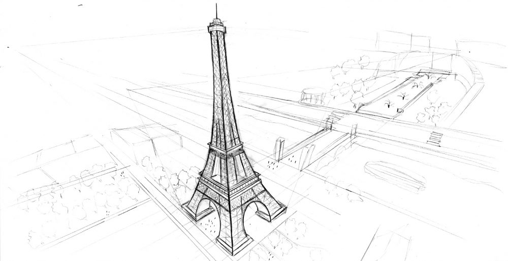 Drawing Illustration Sketch image building architecture perspective building learn eiffel tower