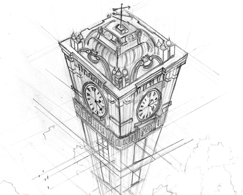 Three Points Perspective Drawings