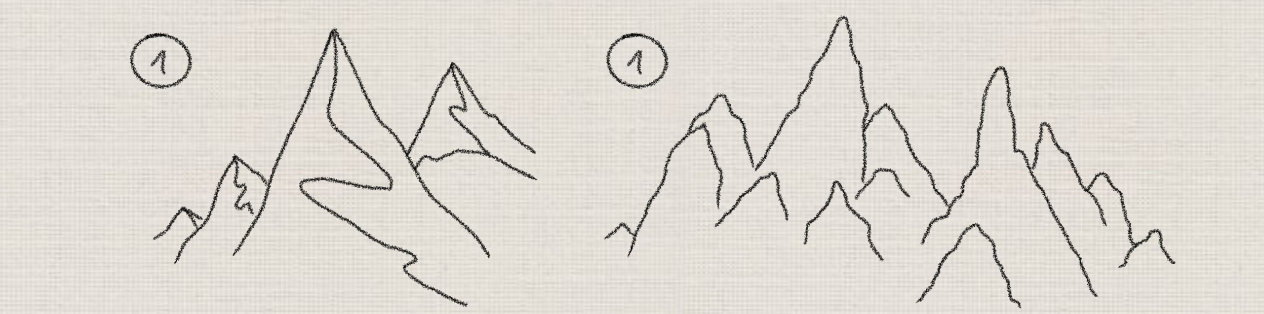 step by step mountain drawings
