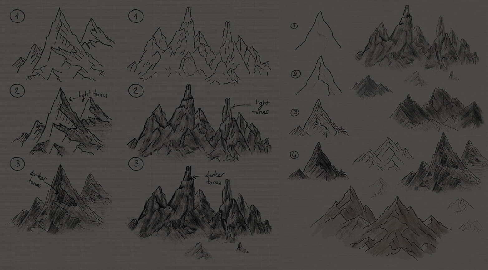 Step by step mountain drawing